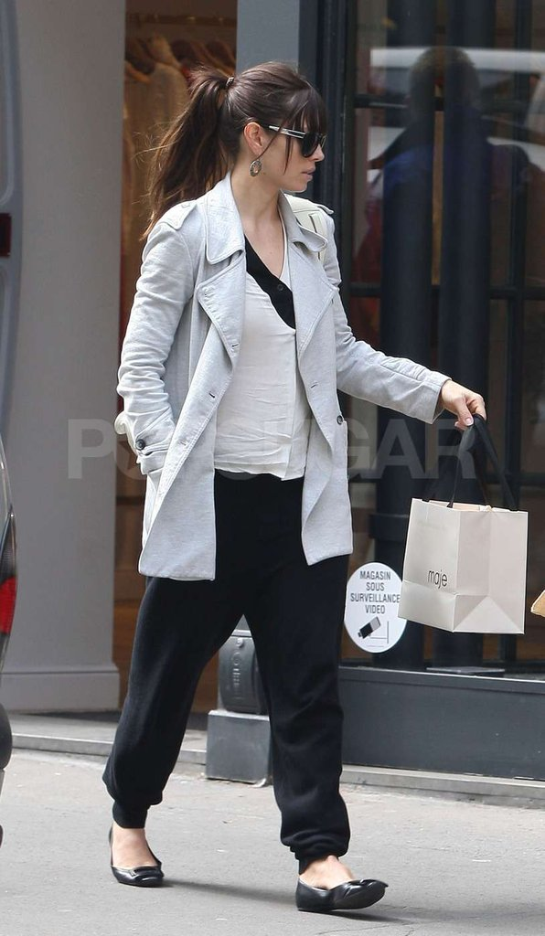 Jessica Biel shopped around Paris in a gray coat while wearing her engagement ring.
