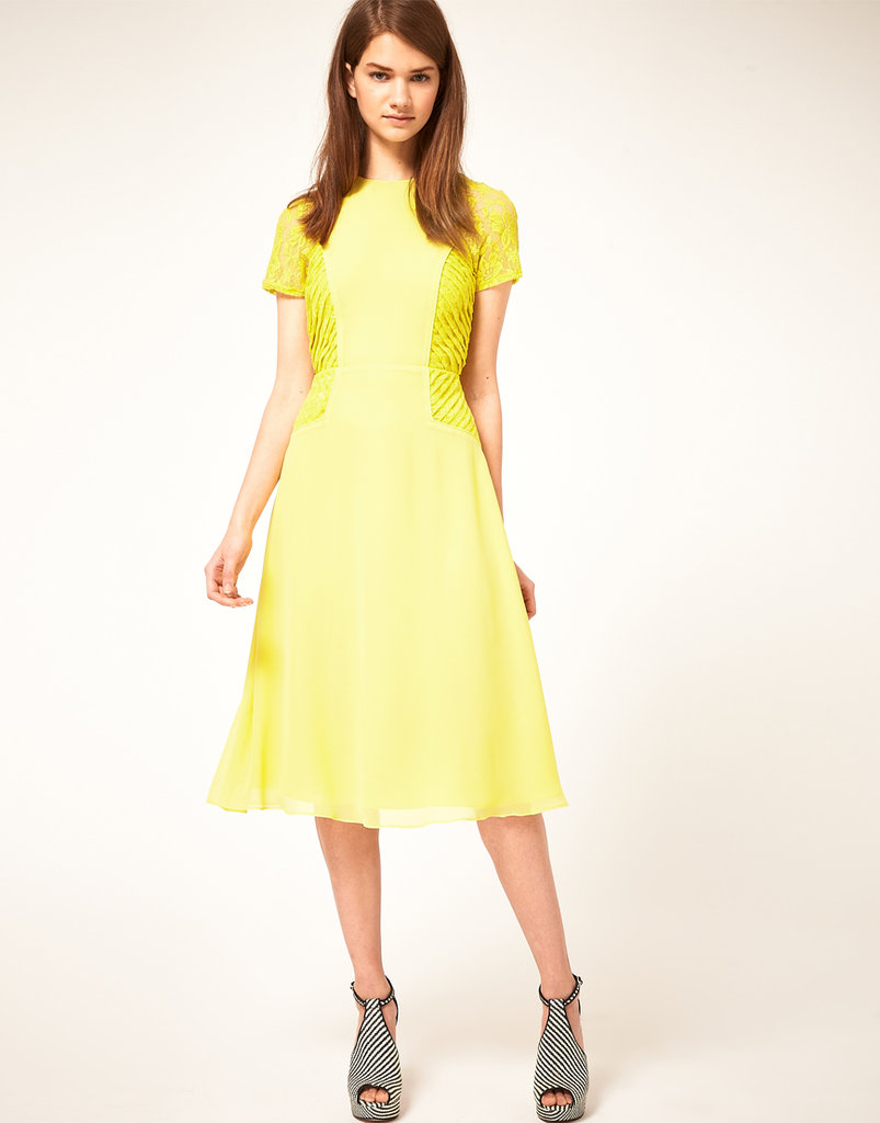 The lace insets make this find extra special.  Asos Midi Tea Dress with Pleat Lace Insert ($108)