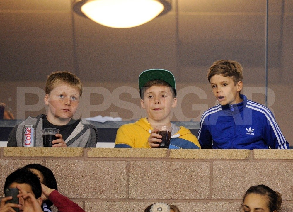 Brooklyn Beckham, Romeo Beckham, and Jack Ramsay watched the Galaxy play.
