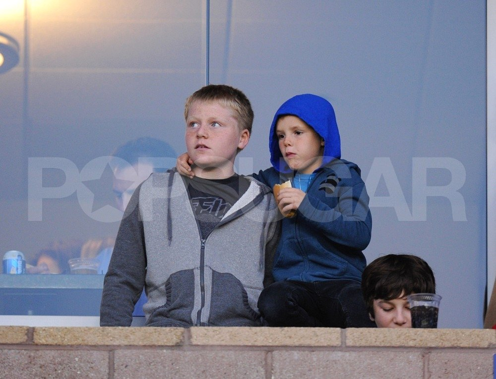 Cruz Beckham and Jack Ramsay watched a soccer game.