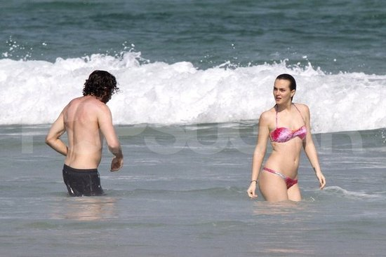 Leighton Meester wore a bikini with shirtless Aaron Himelstein.