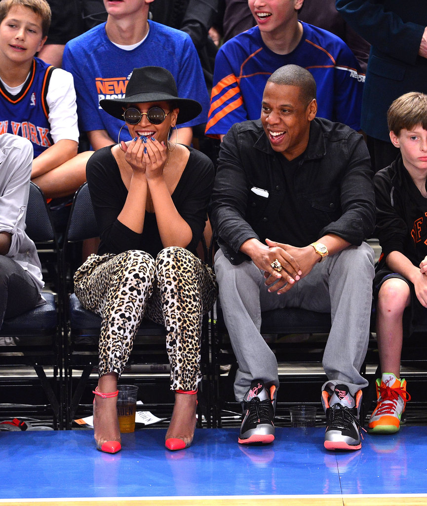 Jay-Z and Beyoncé Knowles watched the Knicks.