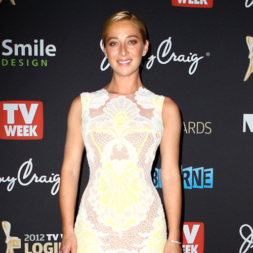 Asher Keddie Neon and Lace J'Aton Dress Pictures at 2012 Logies