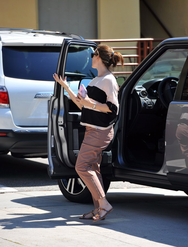 Jennifer Garner wore a striped shirt.