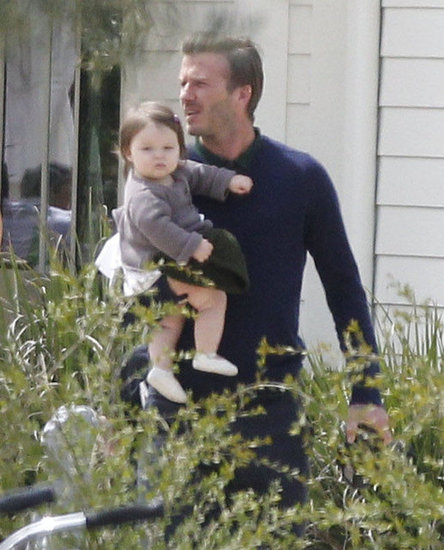 David Beckham held Harper on an Easter outing with the family.