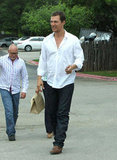 Matthew McConaughey out with wife Camila Alves and son Levi on Easter Sunday in Texas.