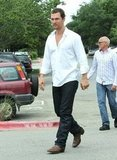 Matthew McConaughey wore a white button down and dark denim for lunch with his family on Easter Sunday in Texas.
