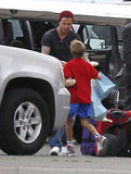 David Beckham helped pack up the car on Easter.
