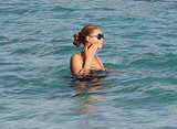 Beyoncé wore a swimsuit in St. Barts.