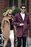 Emma Stone and Andrew Garfield kept warm in coats as they walked through an NYC neighborhood.
