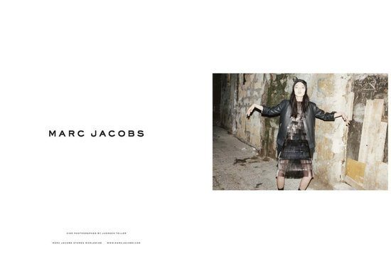 Throughout the Spring 2012 ads, model Xiao Wen strikes odd poses, leaving a very unique mark on the clothing.