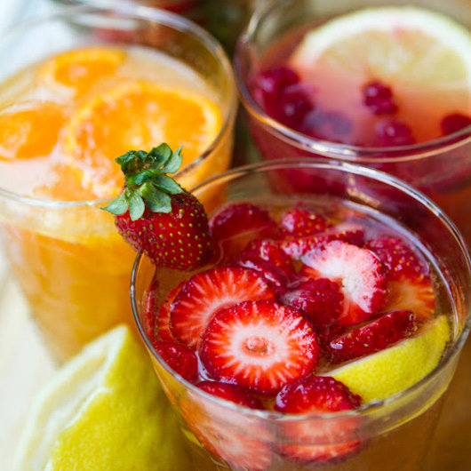 I'm loving the look of this fruit-filled trio of aqua frescas. Whether you choose the strawberry lemon fizz, citrus peach spritzer, or coconut raspberry lemon, each of these beautiful options has Summer written all over it.