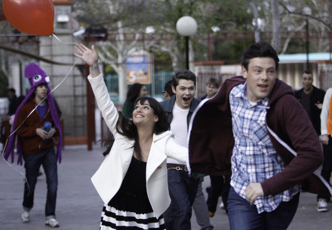 Lea Michele as Rachel, Damian Mcginty as Rory, and Cory Monteith as Finn on Glee.  Photo courtesy of Fox
