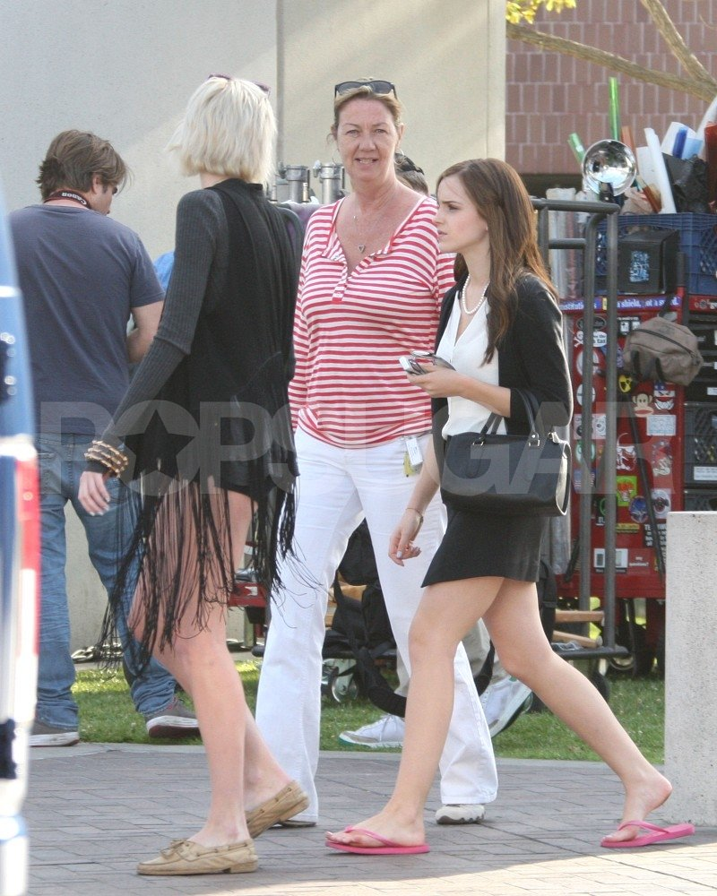 Emma Watson hung out with some friends on the set of The Bling Ring in Lynwood, CA.