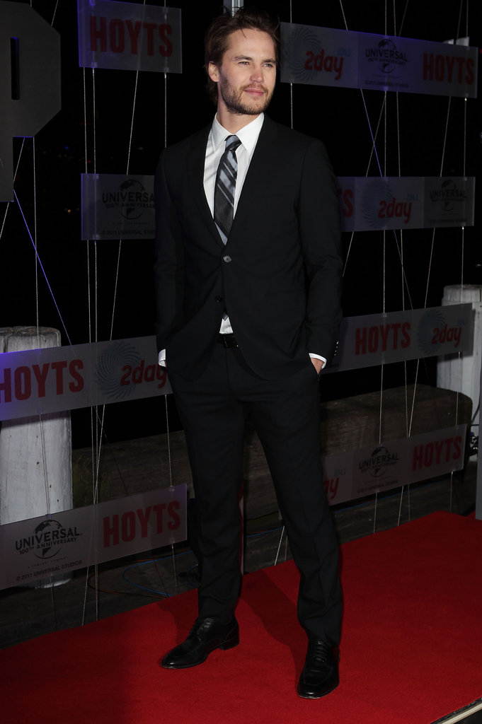 Taylor Kitsch wore a suit to the Battleship premiere in Sydney.