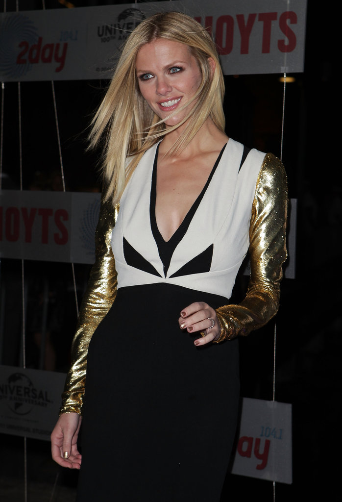 Brooklyn Decker wore a black-and-white V-neck dress adorned with gold sleeves to the Battleship premiere in Sydney.