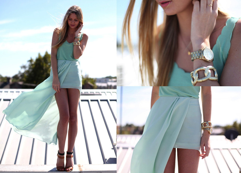Go for beachy with pretty mint pastels and flirty scalloped edges. The monochromatic approach paired with simple accessories is cute, Summer ready, and easy to re-create. Photo courtesy of Lookbook.nu