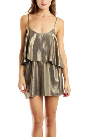 With basic black ballet flats and bohemian earrings, this dress is totally day-worthy. To take it into night, trade your flats for a cool pair of ankle-strap sandals. Elizabeth and James Brenna Gold Dress ($255)