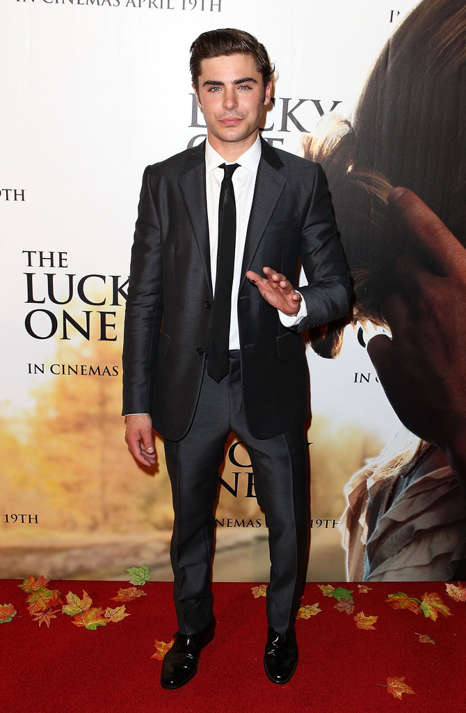 Zac Efron posed on the red carpet at The Lucky One premiere in Melbourne.