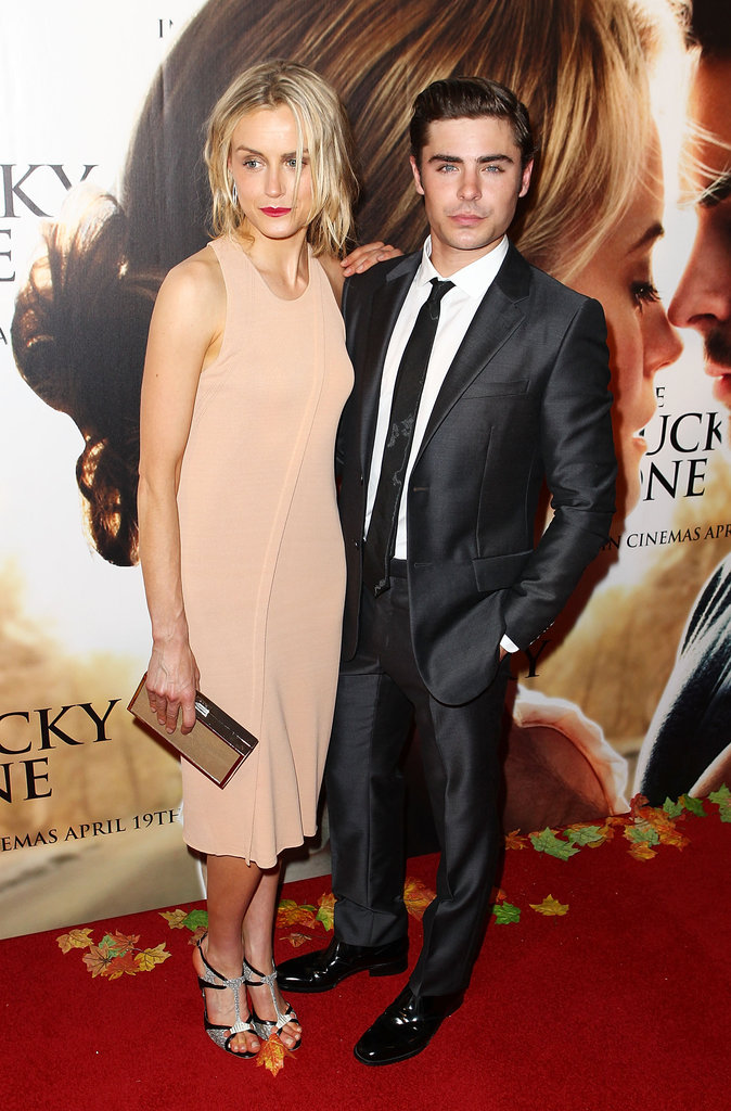 Taylor Schilling and Zac Efron on the red carpet of The Lucky One premiere in Melbourne.