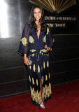 Katie Lee showed off her bohemian side in a printed wrap maxi dress.