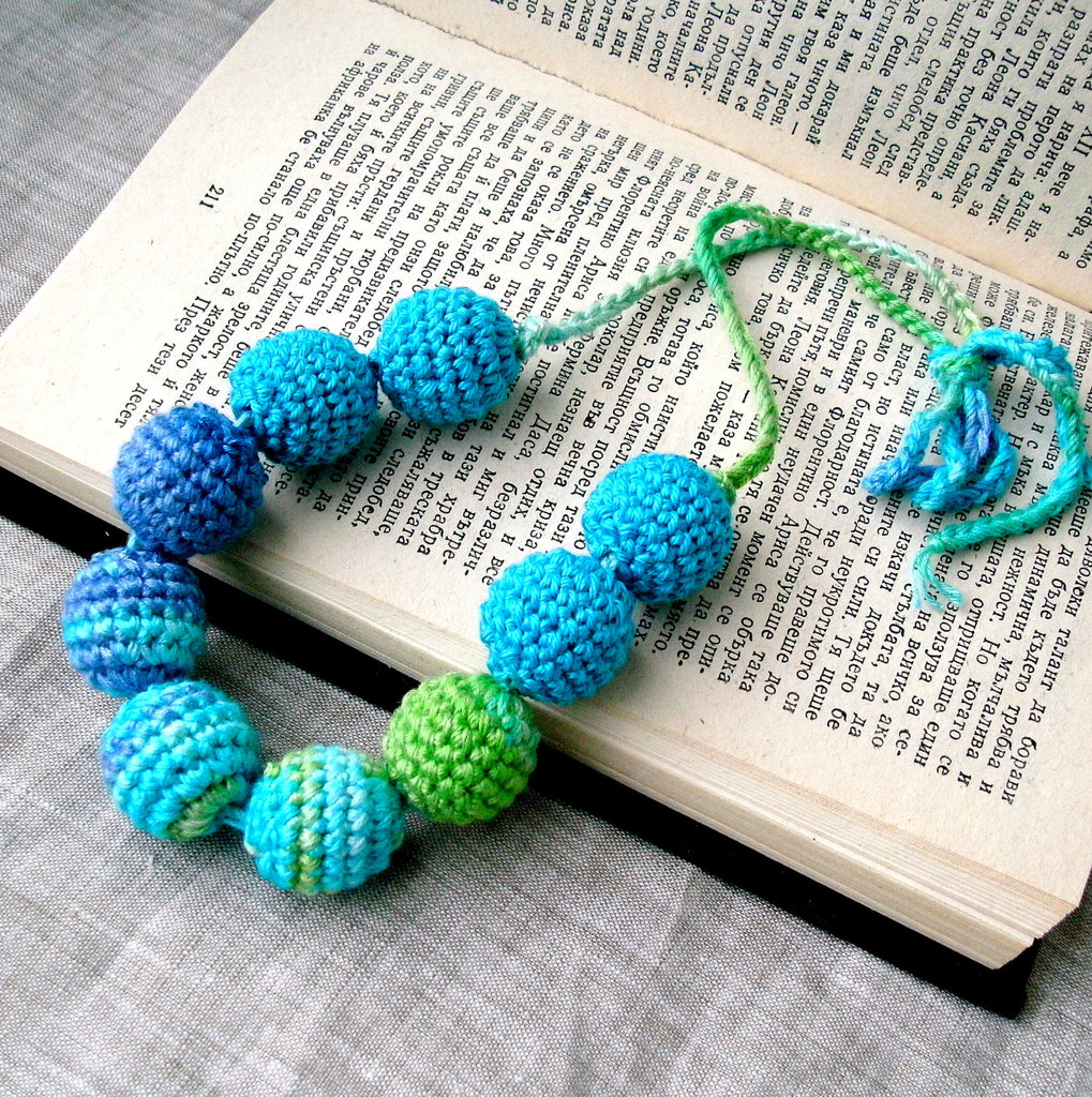 Made with soft bamboo yarn, these bright crochet beaded-necklaces offer a rustic-cool vibe to your dressing MO. Aqua Crochet Beads Necklace ($18)
