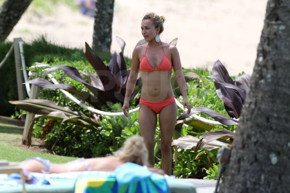 Hayden Panettiere hung out by the pool in her bikini in Hawaii.