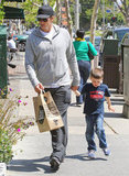Tom Brady and his son Jack Moynahan stopped by Whole Foods Market in Brentwood.