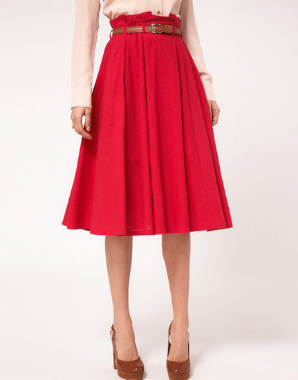 Exhibit your flirty and bright side with this flowing linen skirt.   ASOS Linen Midi Skirt With Belt ($51)