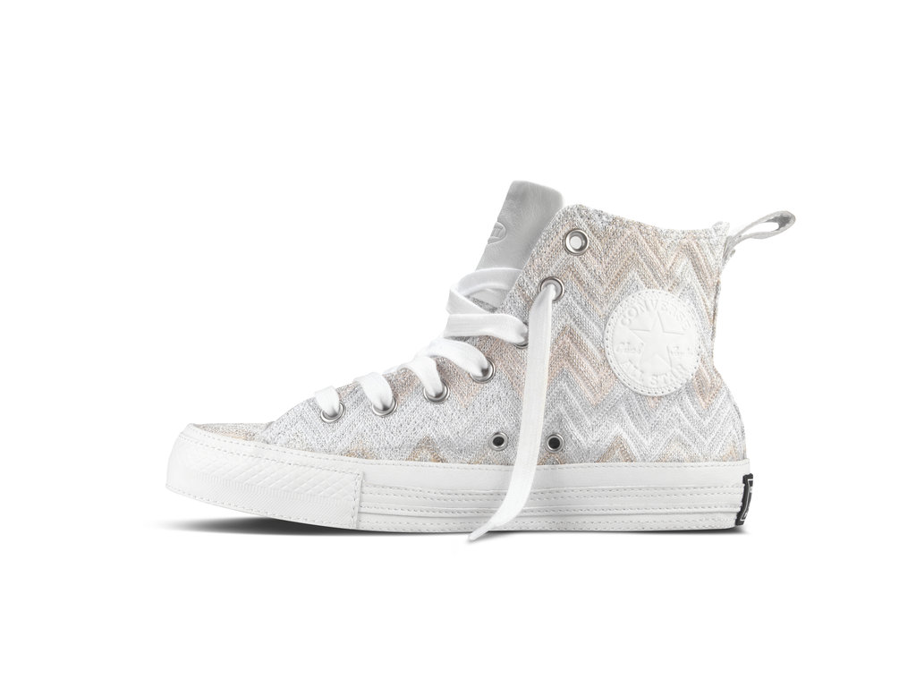 Pairing Missoni's signature pattern with the classic Chuck shape, we're in love with the subtly sweet Spring color palette. Crafted in white, tan, peach, and hints of silver and gold, the old-school high-top gets a girlie upgrade.