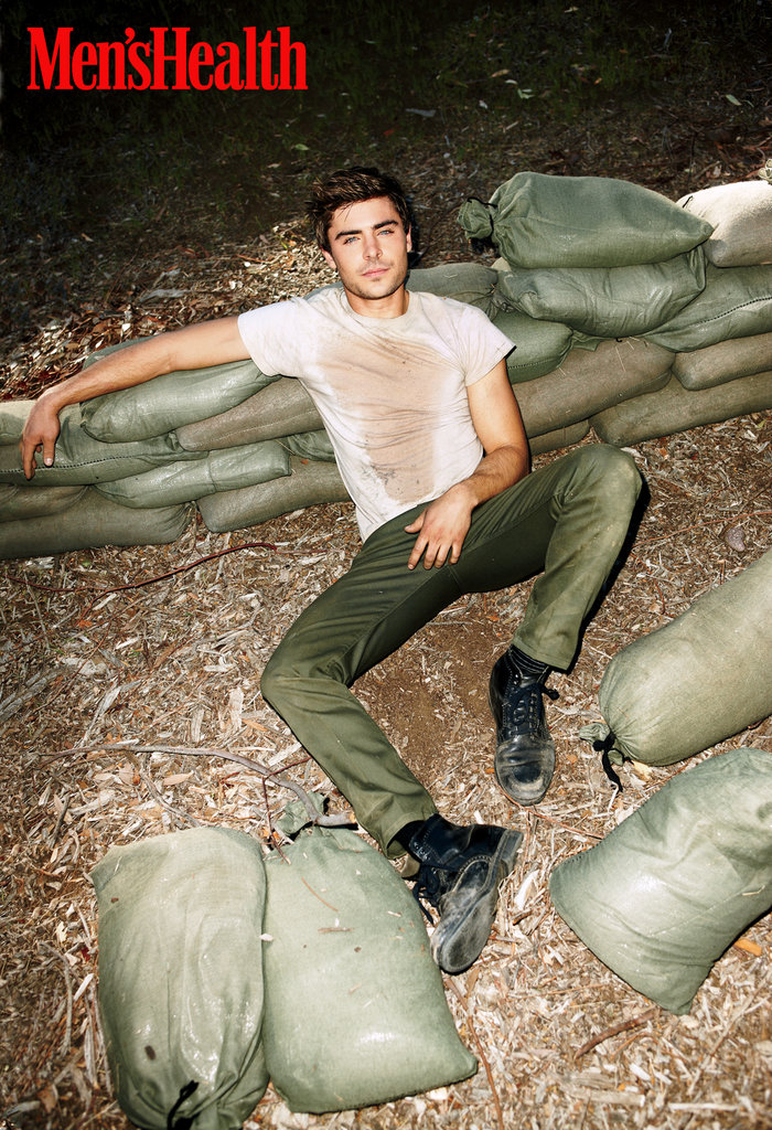 Zac Efron getting down and dirty in Men's Health's May issue.