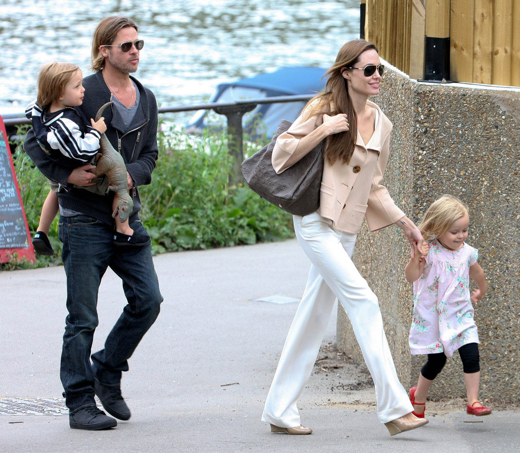 Brad Pitt and Angelina Jolie spent the day with twins Vivienne and Knox during a trip to London in August 2011.