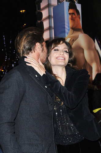 Brad Pitt whispered into Angelina Jolie's ear at the November 2010 Paris premiere of his animated film Megamind.