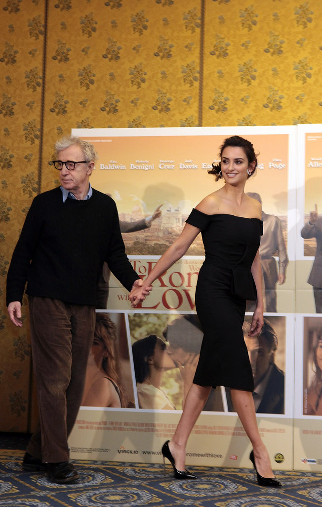 Woody Allen and Penelope Cruz walked out hand in hand to meet the press.