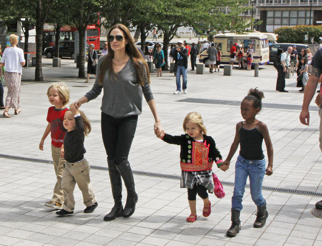 Angelina Jolie took Shiloh, Zahara, Vivienne, and Knox out in London in July 2011.