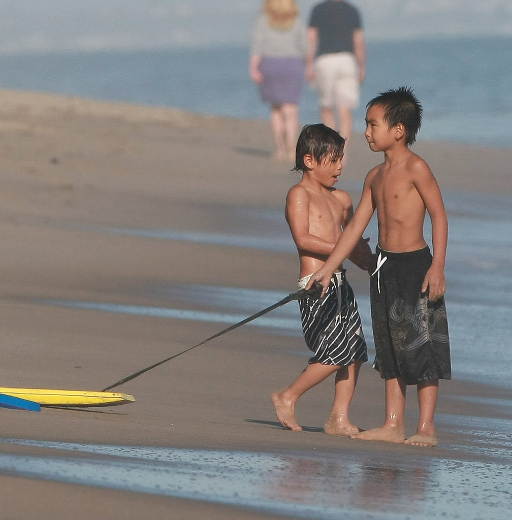 Maddox and Pax played on the beach together in Malibu, CA, in May 2010.