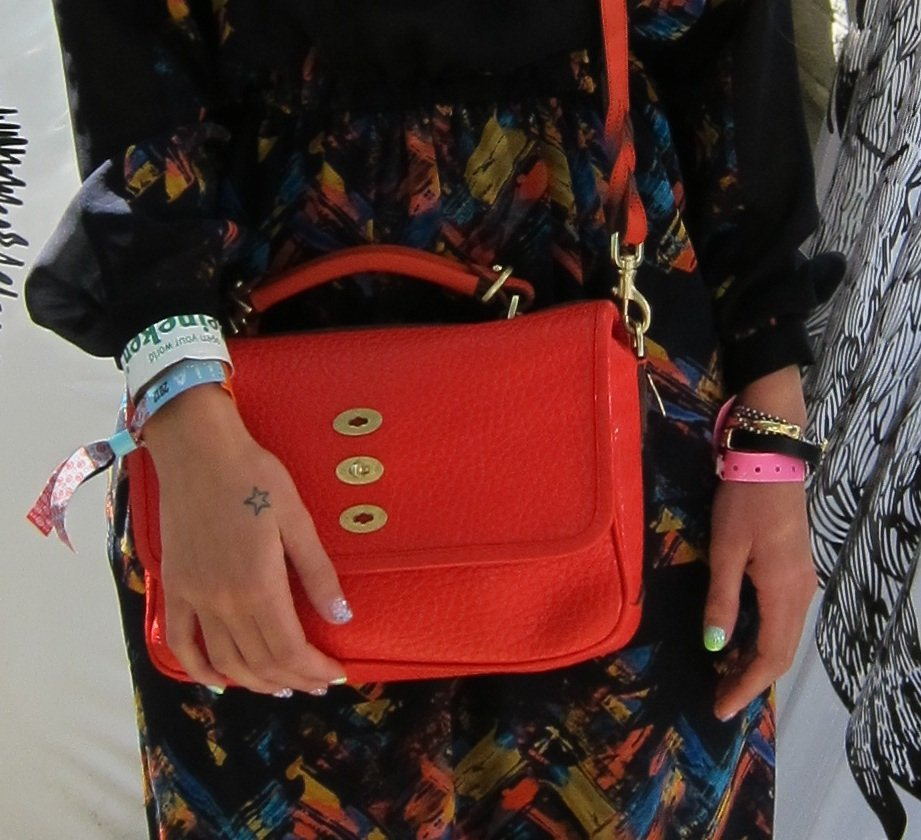 We love this bright red Mulberry bag.