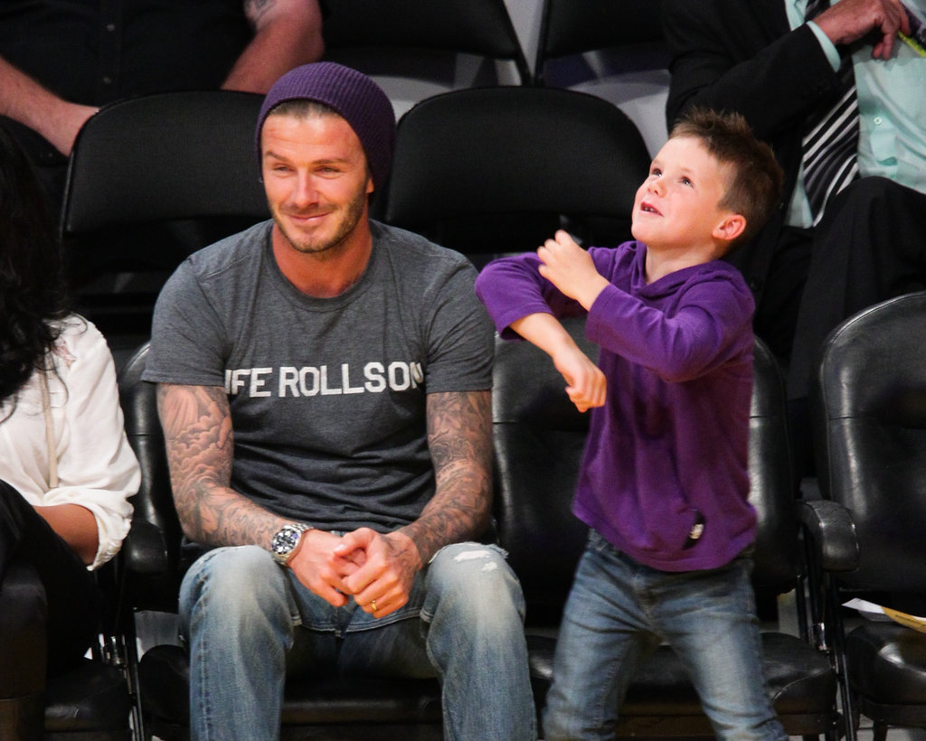 David Beckham took son Cruz Beckham to the Lakers game in LA.