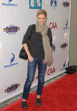Julie Bowen was cute and casual in a scarf and jeans.