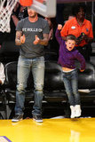 David Beckham and Cruz Beckham cheered for the Lakers at the game in LA.