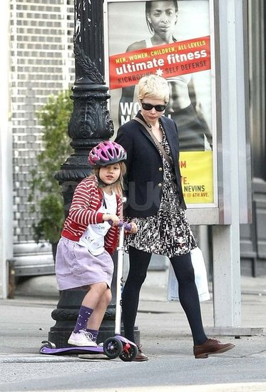 Matilda Ledger rode a scooter around Brooklyn with her mom.