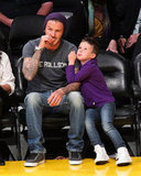 David Beckham and Cruz Beckham sat together at the Lakers game in LA.