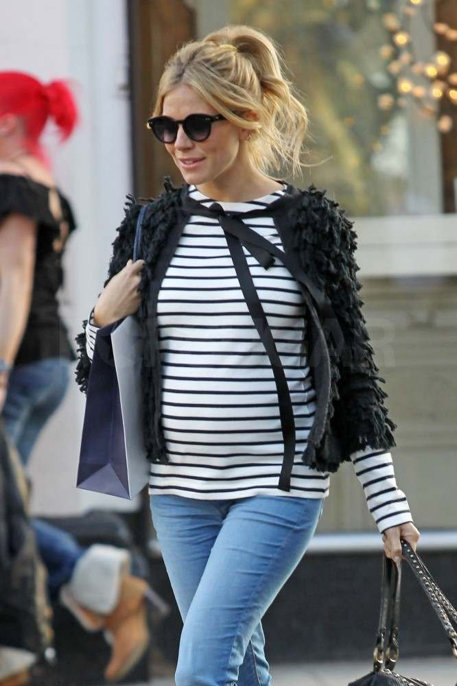 Sienna Miller's Striped Bump