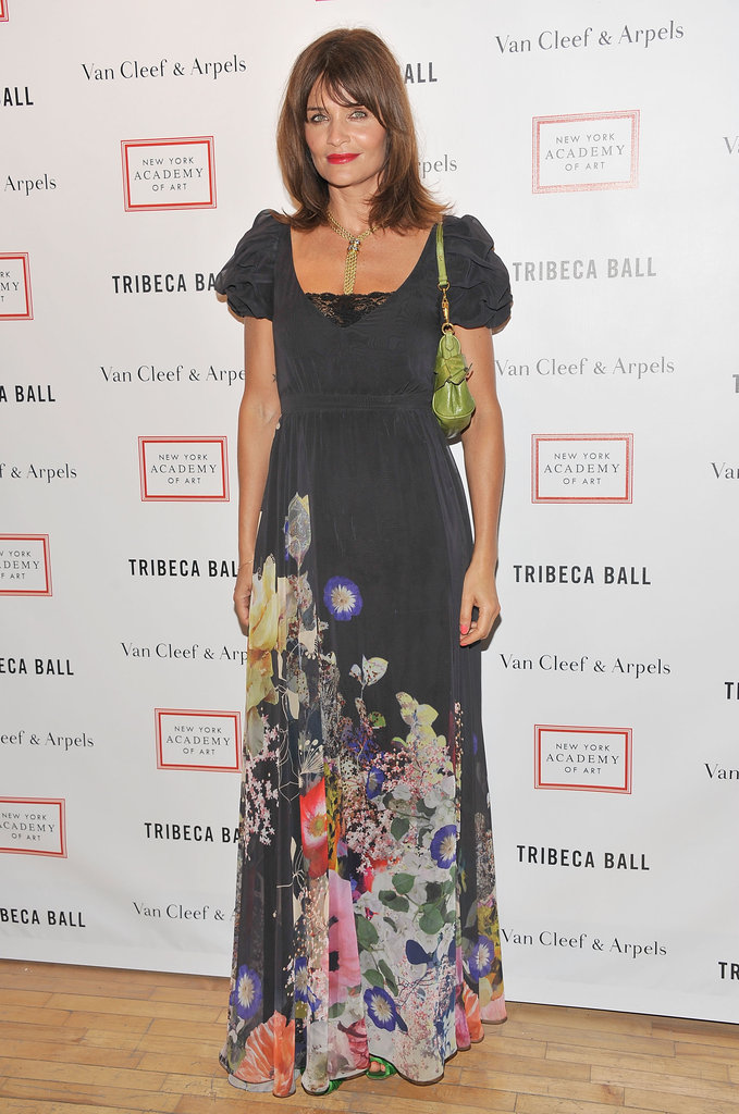 Helena Christensen wore a black floral dress to the 2012 Tribeca Ball in NYC.