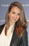 Jessica Alba wore her hair down.
