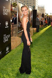Taylor Schilling looked stunning in a black gown at the Lucky One premiere in LA.