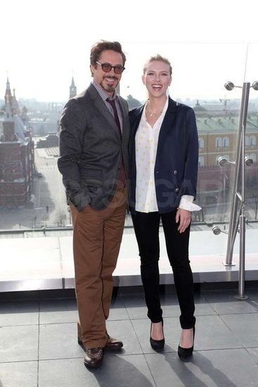 Scarlett, Robert, and the Avengers Make a Superhero Stop in Russia
