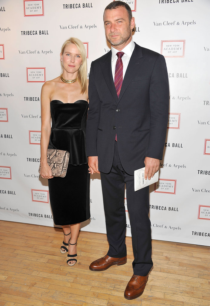 Naomi Watts and Liev Schreiber held hands while they posed together at the 2012 Tribeca Ball in NYC.