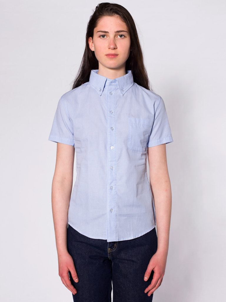 This short-sleeved button-down has a sweet gingham print and the structure of a great tomboy find to offset high-waisted cutoffs.  American Apparel Unisex Gingham Short Sleeve Button-Down Shirt ($52)