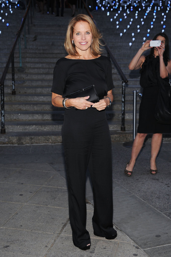 Katie Couric wore a black jumpsuit by Tucker to the Vanity Fair Party at the 2012 Tribeca Film Festival.